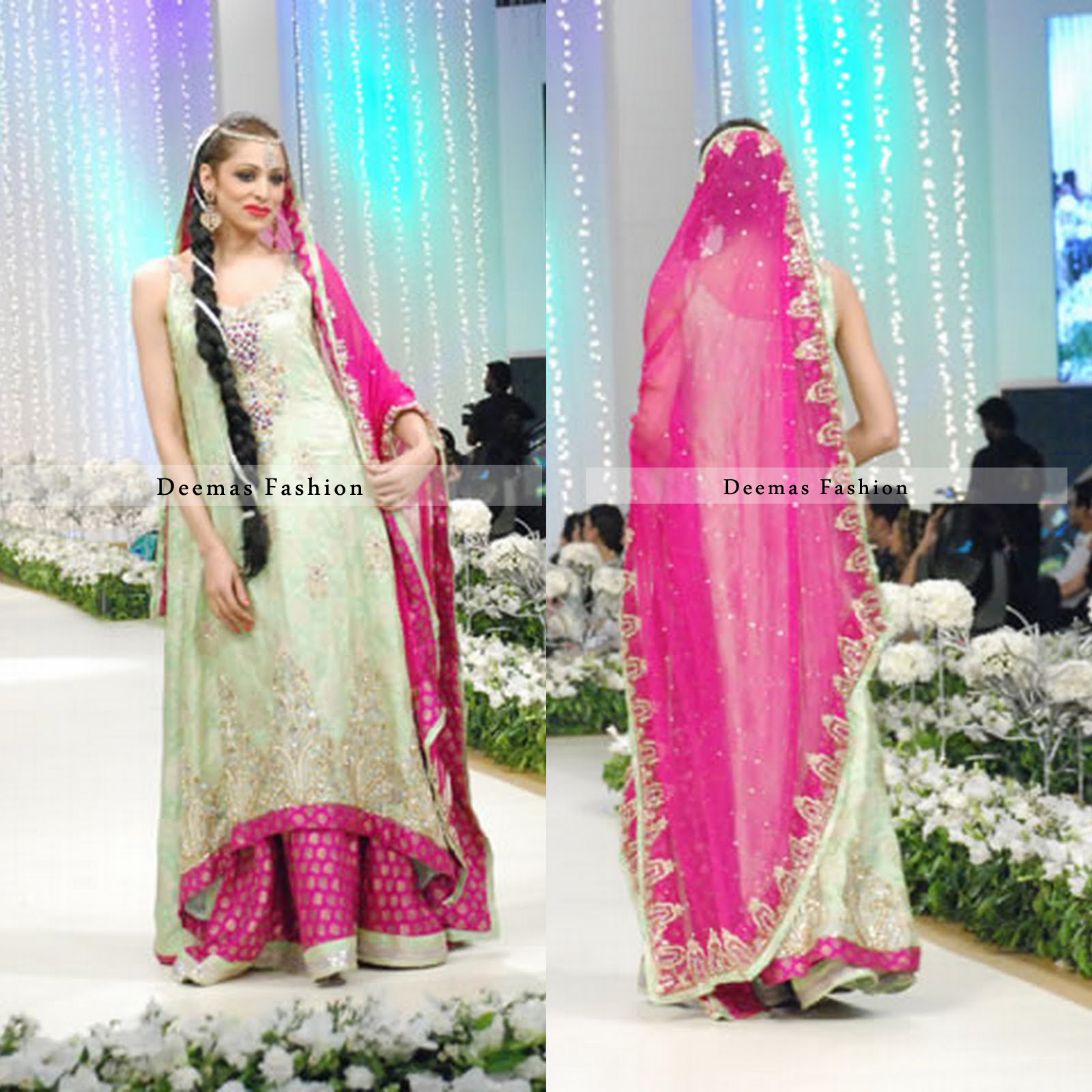 Pakistani Bridal Dress Light Green Shocking Pink Sharara Latest