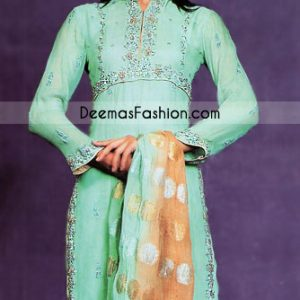 New Ladies Wear Ferozi Green Chiffon