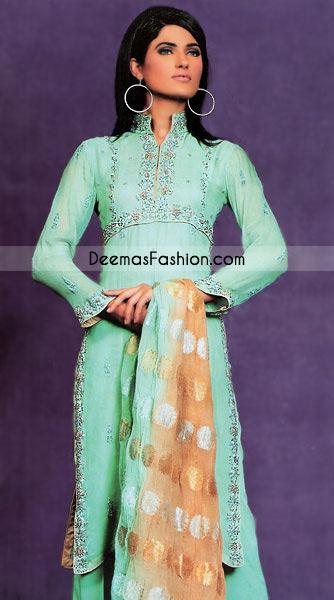 New Ladies Wear Ferozi Green Chiffon