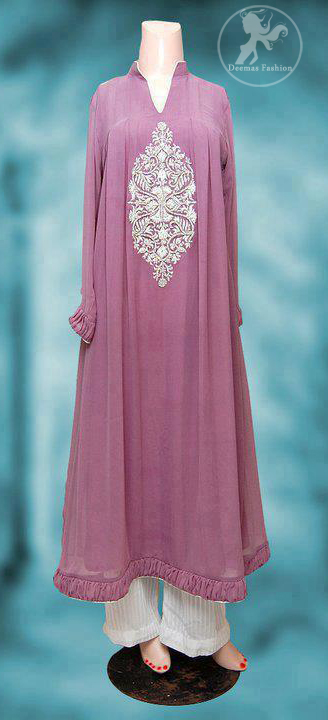 light-mauve-casual-wear-Aline-frock-trouser