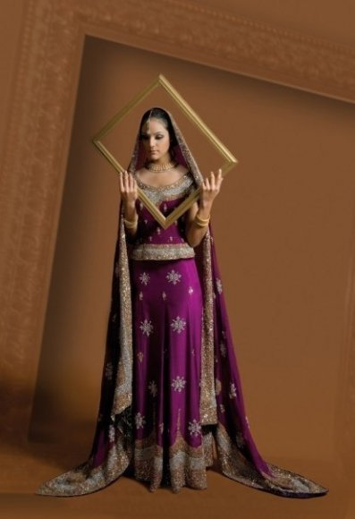 Dark Magenta Bridal Lehnga Heavy Embroidered Border