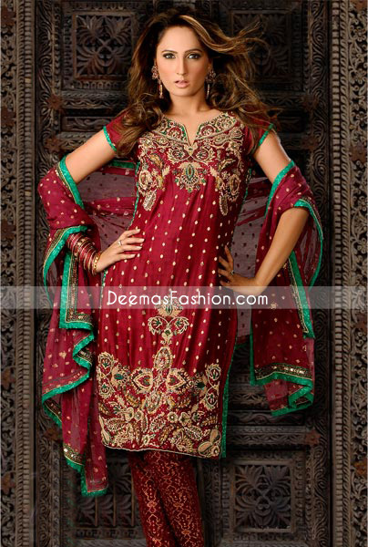 Traditional Pakistani Dress – Maroon Banarsi Churidar Suit