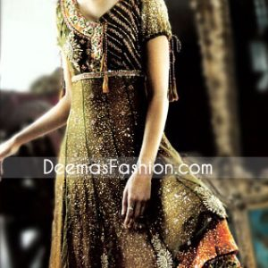 Mehndi Green Orange Chiffon Frock - Traditional Ladies Wear Anarkali Dress Mehndi Green Rust
