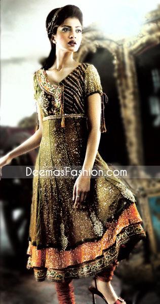 Mehndi Green Orange Chiffon Frock – Traditional Ladies Wear Anarkali Dress Mehndi Green Rust