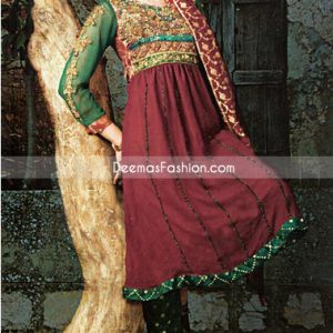 Latest Designer Wear - Maroon Bottle Green Anarkali Frock