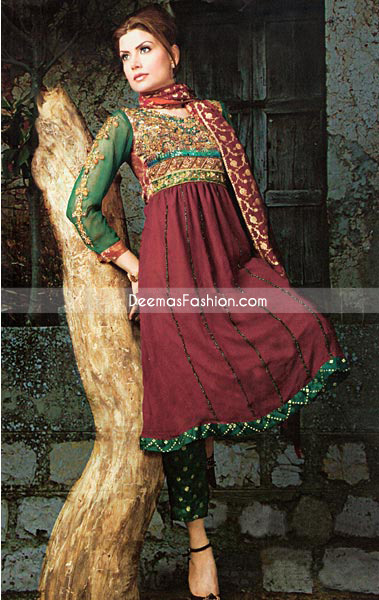 Latest Designer Wear – Maroon Bottle Green Anarkali Frock