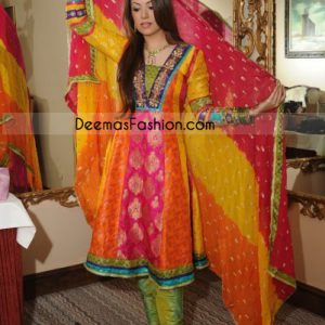 Mehndi Wear Multi Color Pure Jamawar Frock