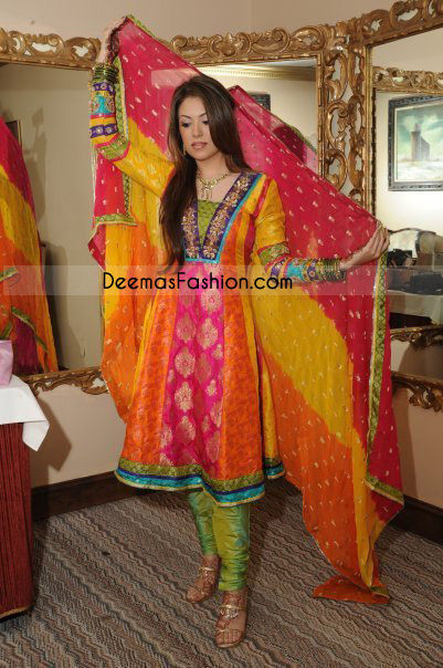 Pakistani Bridal Mehndi Wear Multi Color Jamawar Frock