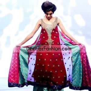 Multi Kali Maroon Embroidered Neck Chiffon Frock - Pakistani Designer Wear Maroon Sea Green Pishwas