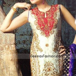 Pakistani Designer Clothes - Off White Jamawar