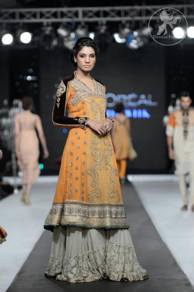 orange-aline-frock-with-fawn-lehnga