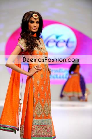 orange heavy formal party wear formal dress latest