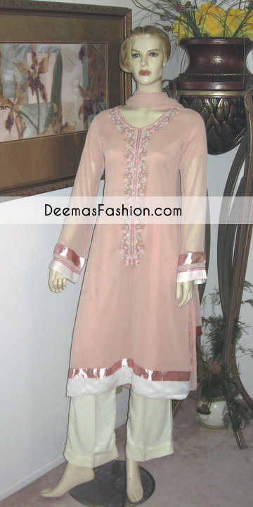 peach-off-white-party-casual-wear-dress1