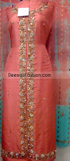 Pakistani Trousers Shirt – Peach Gown Dress