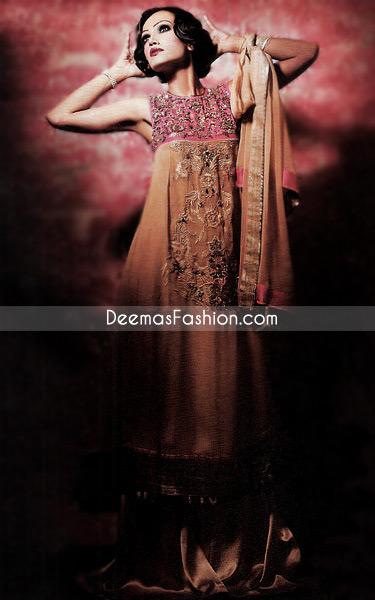 Latest Designer Wear - Brown & Shocking Pink