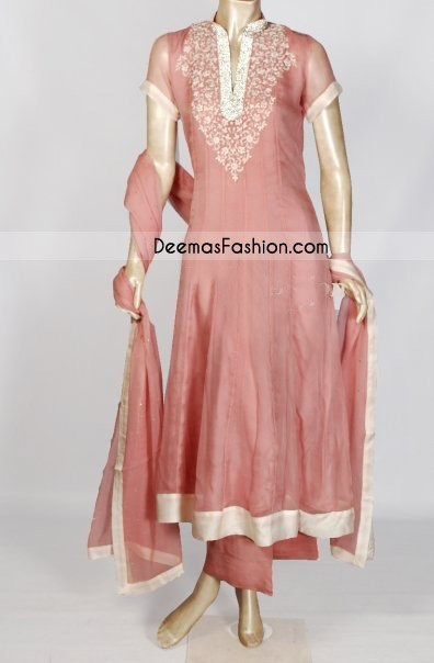 Sale Pakistani Simple Pink Anarkali Dress