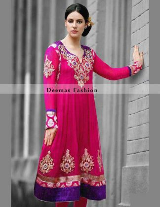Pink Purple Anarkali Frock Churidar
