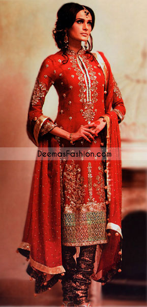 Red Pure chiffon shirt has been endowed with elevated embroidery
