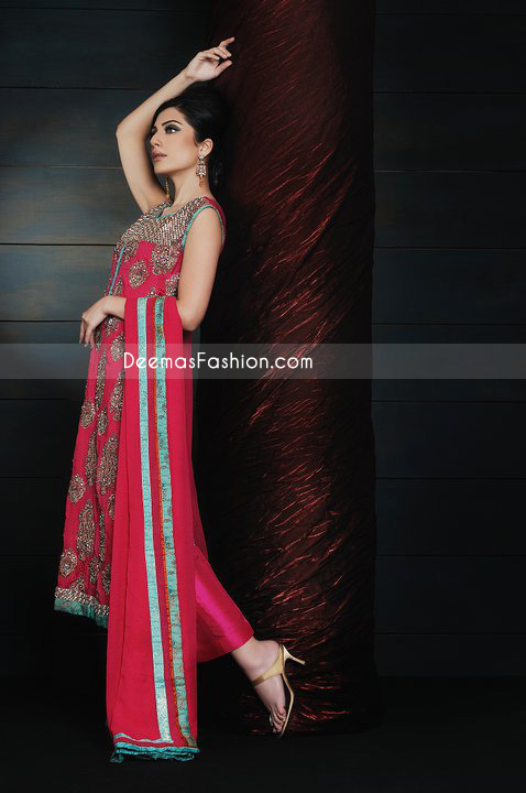 Latest Pakistani Formal Fashion – Deep Red Chiffon