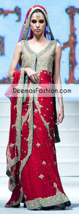 Red Designer Wear Bridal Lehnga with Tail Gown