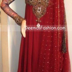 Red Embroidered Neck Pure Chiffon Frock Jamawar Dupatta - Ladies Wear Deep Red Pure Chiffon Anarkali Fashion Dress