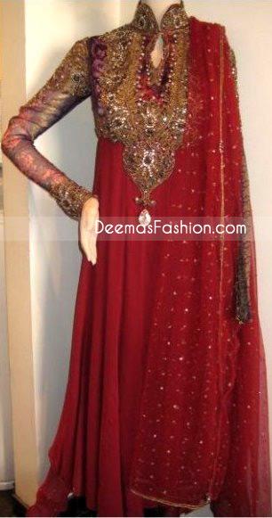 Red Embroidered Neck Pure Chiffon Frock Jamawar Dupatta – Ladies Wear Deep Red Pure Chiffon Anarkali Fashion Dress