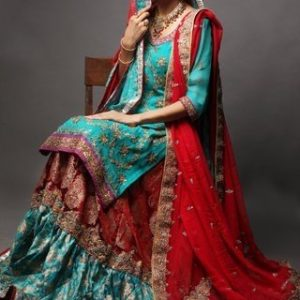 Pakistani Bridal Wear Dresses - Red Ferozi Gharara