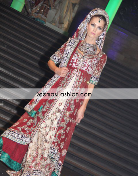 Red Front Open Gown off White Bridal Wear Lehnga