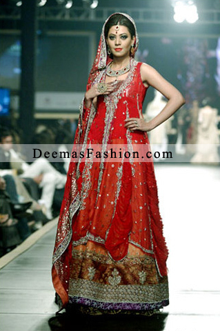 Red Orange Bridal Wear Lehnga