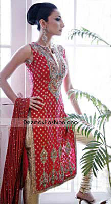 Red pure jamavar long shirt embellished with V embroidered neckline. Small ornamental motifs are sprayed all over the front.