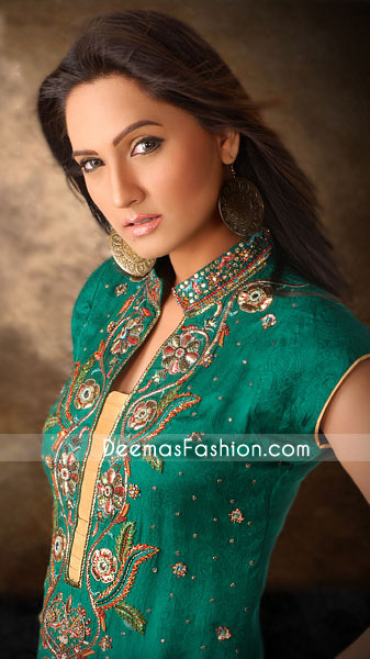 Pakistani Party clothes-Sea Green & Golden Yellow