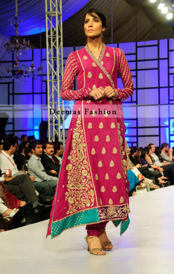 Shocking Pink Pure Chiffon A-Line Angrakha Style Shirt with Churidar