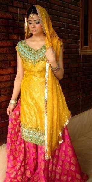 Latest Pakistani Shocking Pink Yellow Bridal Wear Sharara