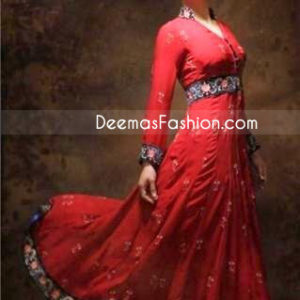 Simple Red Embroidered Belt & Border Pure Chiffon Frock