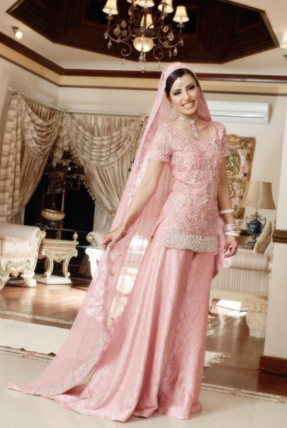 Pakistani Bridal Wear Simple Tea Pink Sharara - Latest Designer Dresses - Fashion Wear 2017 ...