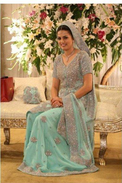 Latest Bridal Wear Collection Sky Blue Sharara Latest