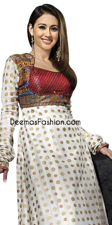 Stylish Embroidered Top Jamawar Frock