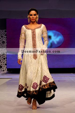 Stylish White A-Line Formal Anarkali Frock