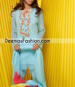 Buy Pakistani Designer Dresses - Sky Blue Casual Clothes