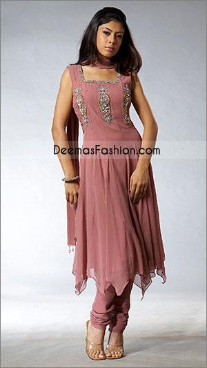Pakistani Ladies Wear Anarkali Pink Chiffon Dress
