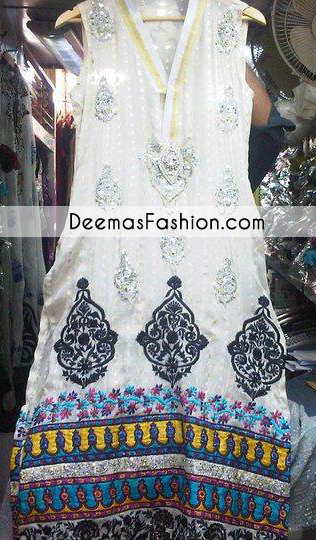 White Aline Casual Wear Shirt With Multi Embroidery