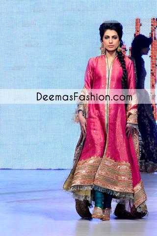 Shocking Pink Party Wear Designer Pishwas