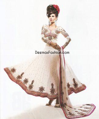 Pakistani Fashion Dress White Red Pishwas - Anarkali Churidar