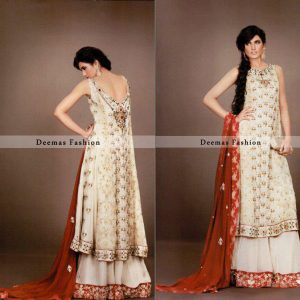 White & Red Colour pure chiffon Bridal Wear A-Line Frock with Lehnga