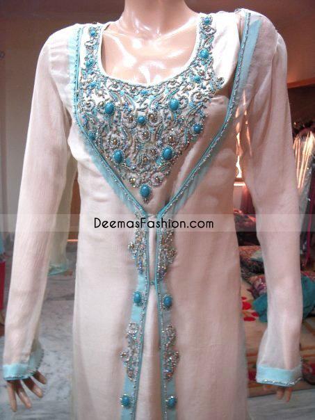 White & Sky Blue- Designer Shalwar Kameez