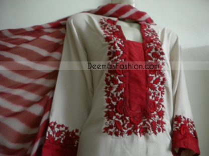 Pakistani Casual Wear - White Suit With Red Embroidery