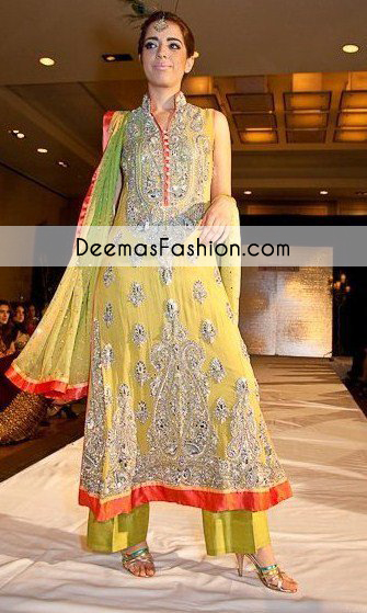 Yellow Heavy Formal Bridal Mehndi Wear Dress Latest